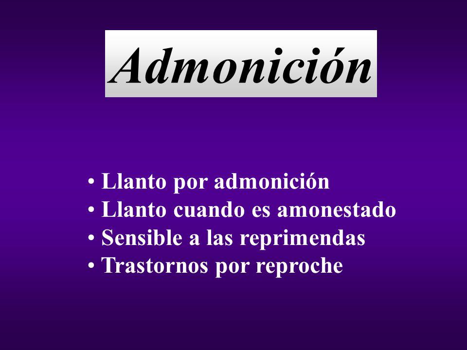 Admonición Llanto por admonición Llanto cuando es amonestado