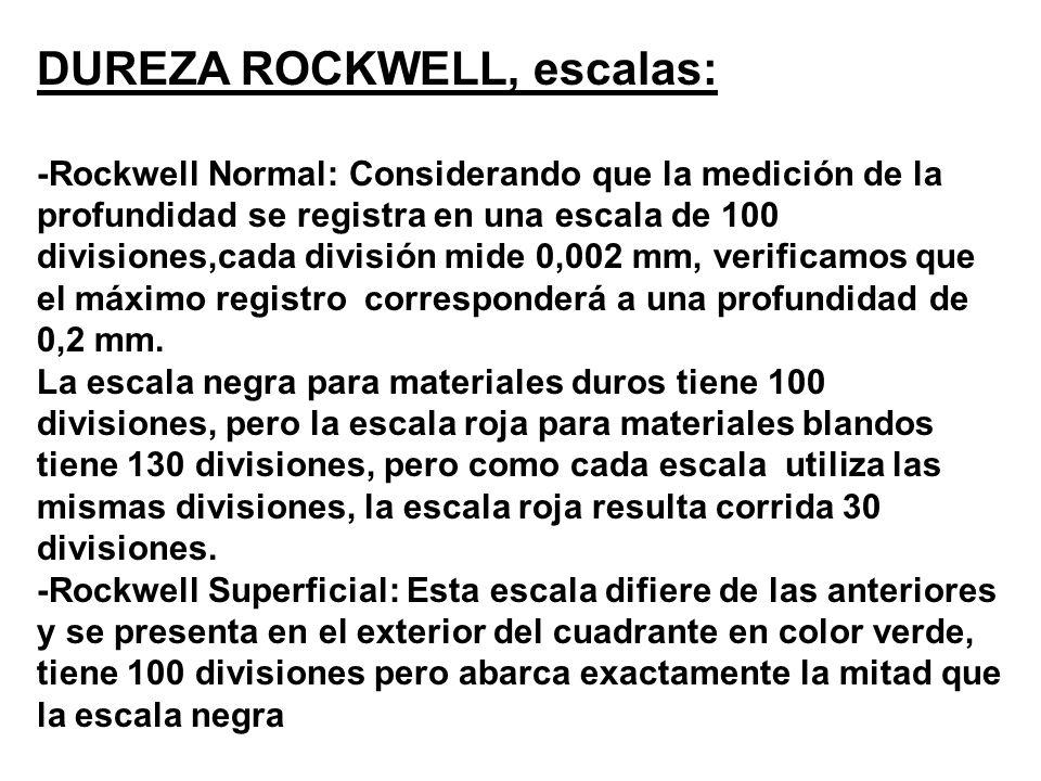 DUREZA ROCKWELL, escalas: