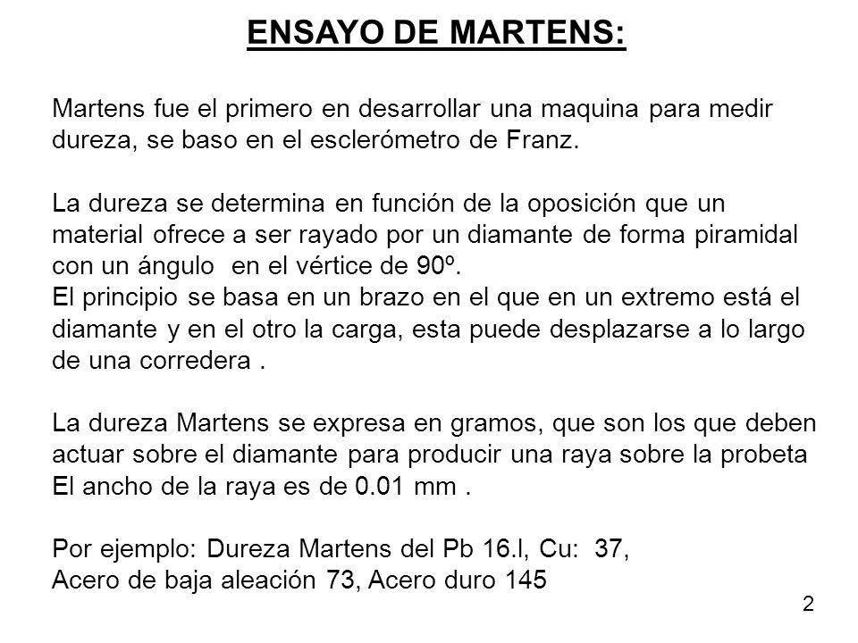 ENSAYO DE MARTENS: Martens fue el primero en desarrollar una maquina para medir dureza, se baso en el esclerómetro de Franz.