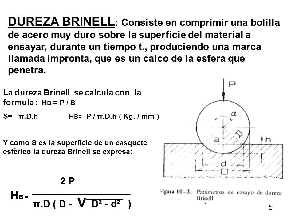 DUREZA BRINELL: Consiste en comprimir una bolilla de acero muy duro sobre la superficie del material a ensayar, durante un tiempo t., produciendo una marca llamada impronta, que es un calco de la esfera que penetra.