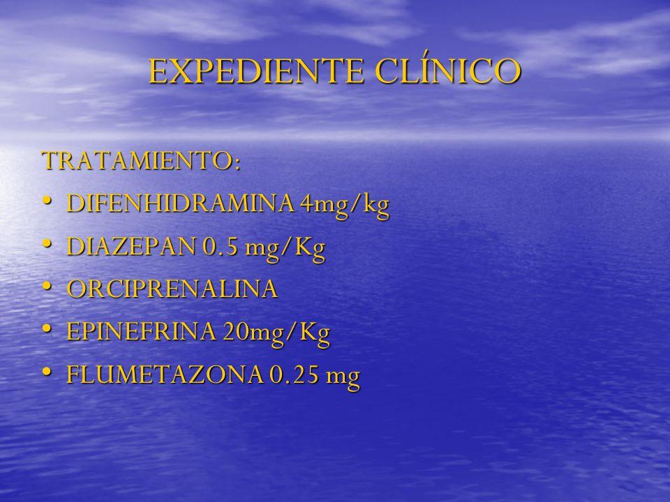 EXPEDIENTE CLÍNICO TRATAMIENTO: DIFENHIDRAMINA 4mg/kg