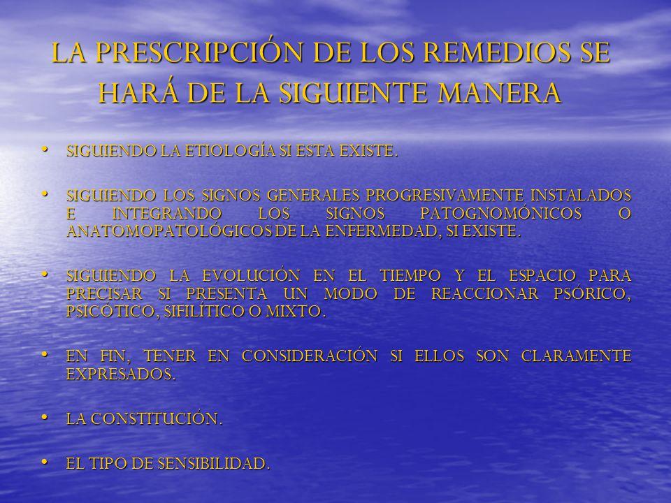 LA PRESCRIPCIÓN DE LOS REMEDIOS SE HARÁ DE LA SIGUIENTE MANERA