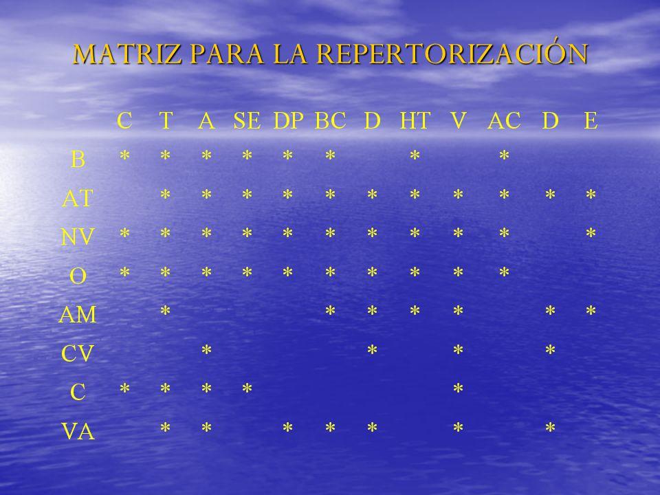 MATRIZ PARA LA REPERTORIZACIÓN
