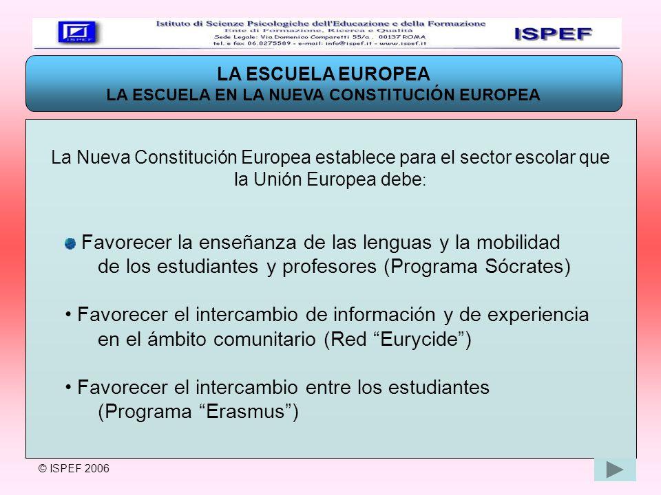 LA ESCUELA EN LA NUEVA CONSTITUCIÓN EUROPEA