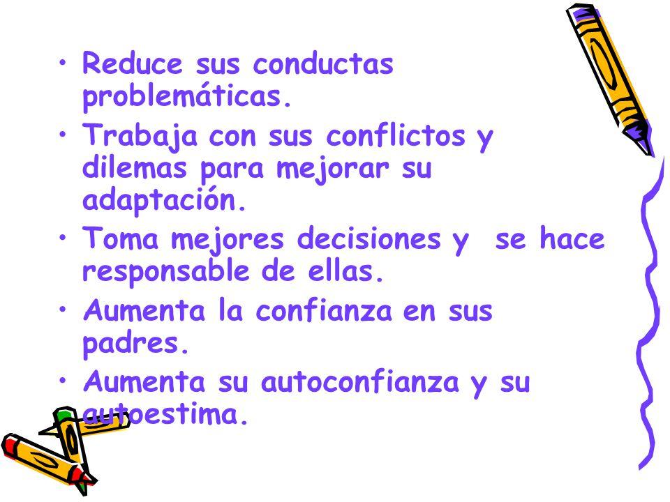 Reduce sus conductas problemáticas.