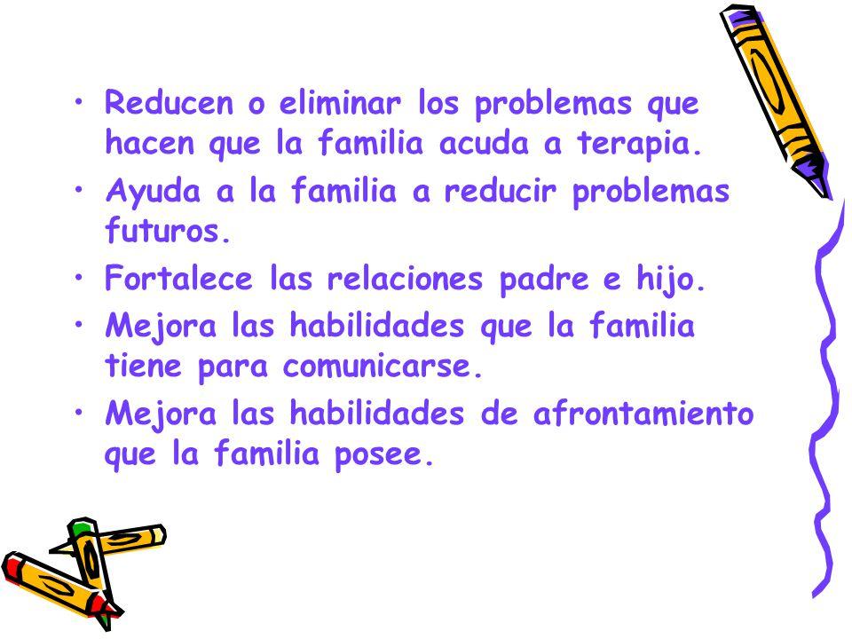 Reducen o eliminar los problemas que hacen que la familia acuda a terapia.