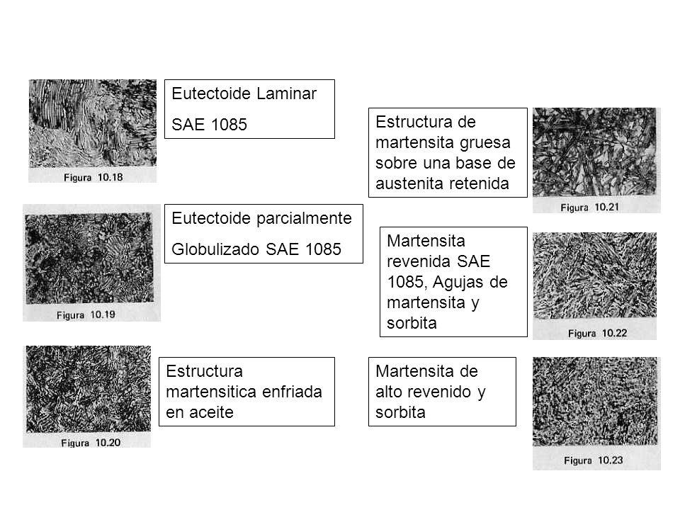 Eutectoide Laminar SAE 1085. Estructura de martensita gruesa sobre una base de austenita retenida.