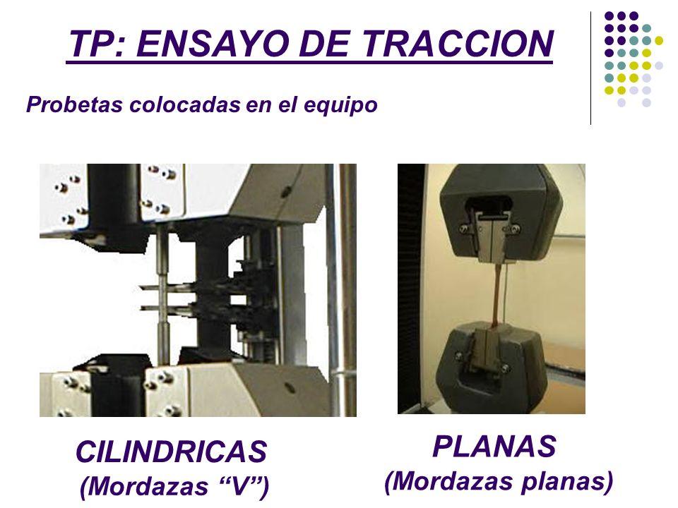 TP: ENSAYO DE TRACCION PLANAS CILINDRICAS (Mordazas planas)