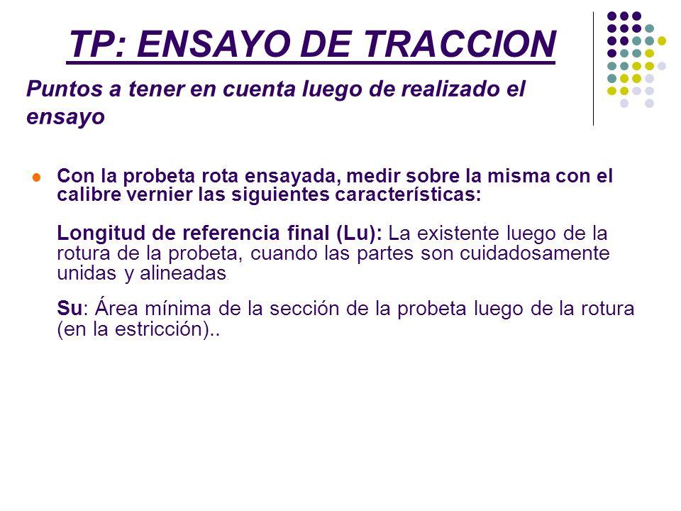 TP: ENSAYO DE TRACCION Puntos a tener en cuenta luego de realizado el ensayo.