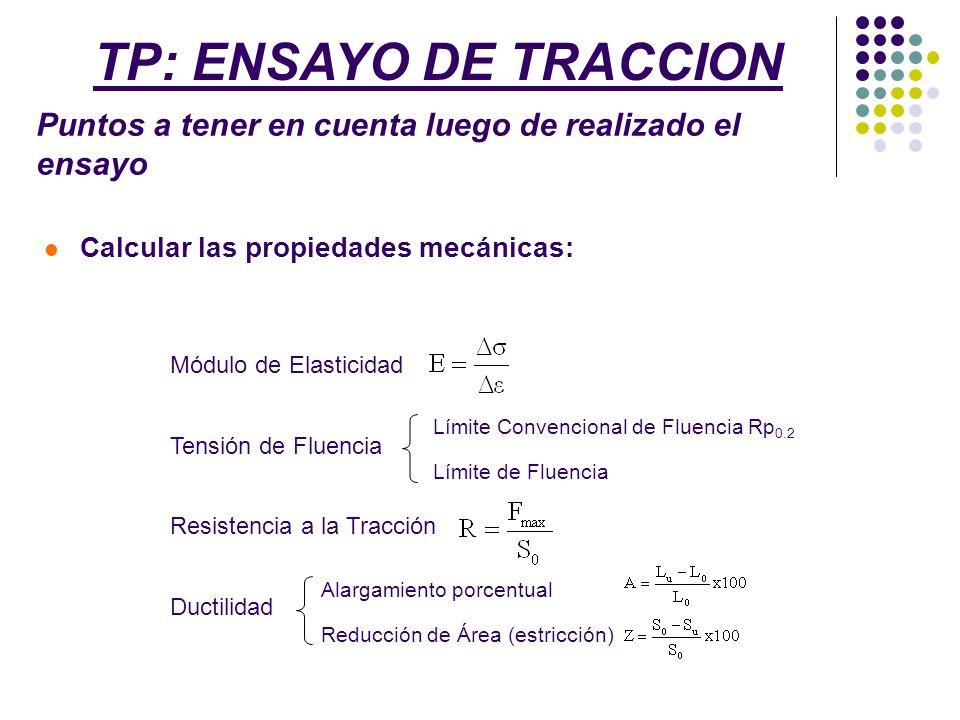 TP: ENSAYO DE TRACCION Puntos a tener en cuenta luego de realizado el ensayo. Calcular las propiedades mecánicas: