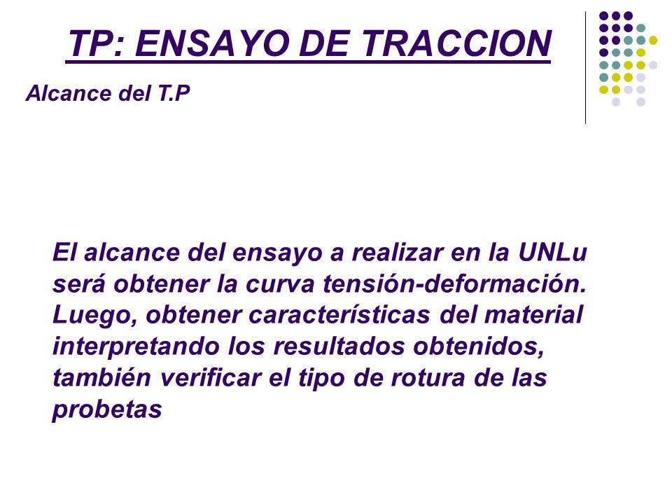 TP: ENSAYO DE TRACCION Alcance del T.P.