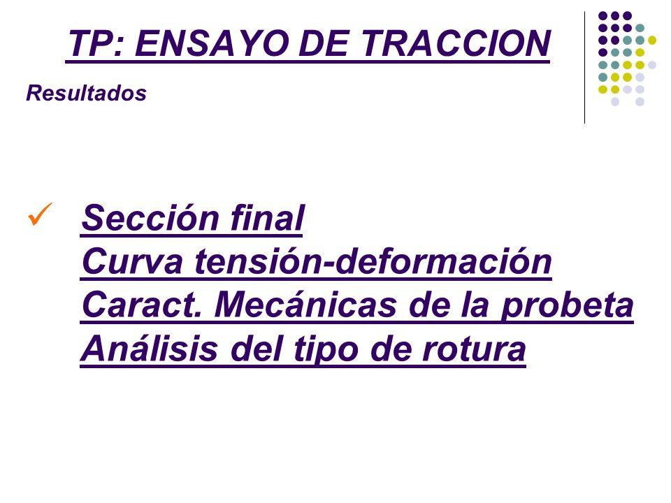 TP: ENSAYO DE TRACCION Resultados. Sección final Curva tensión-deformación Caract.