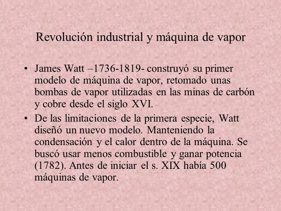 Revolución industrial y máquina de vapor
