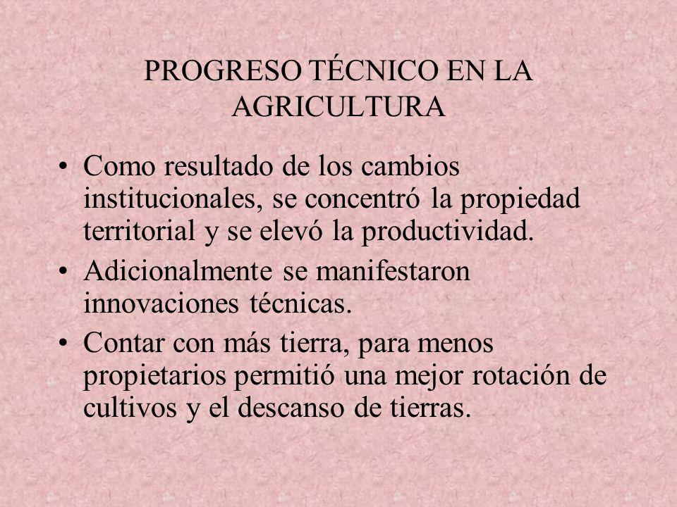 PROGRESO TÉCNICO EN LA AGRICULTURA