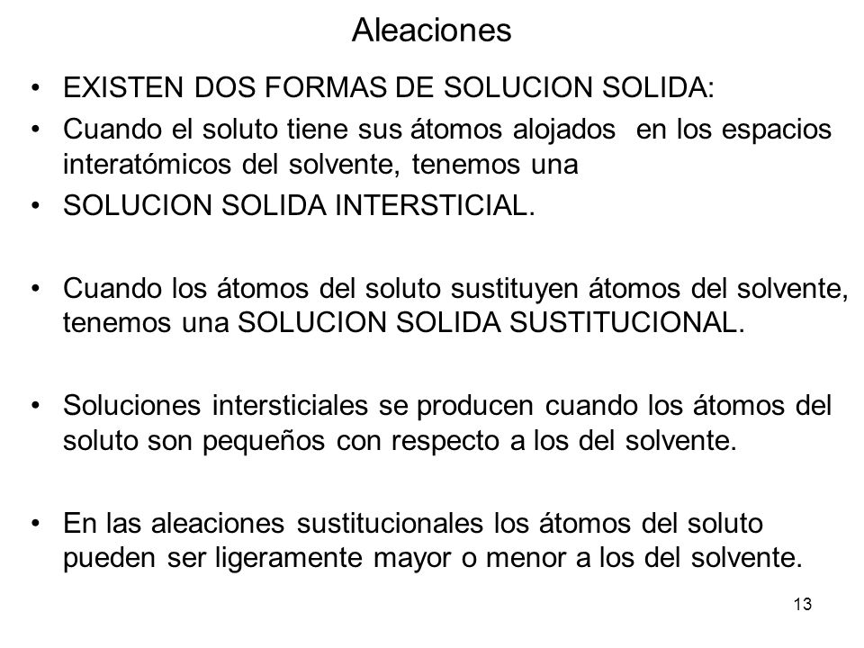 Aleaciones EXISTEN DOS FORMAS DE SOLUCION SOLIDA: