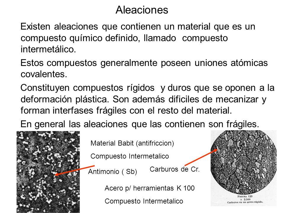AleacionesExisten aleaciones que contienen un material que es un compuesto químico definido, llamado compuesto intermetálico.