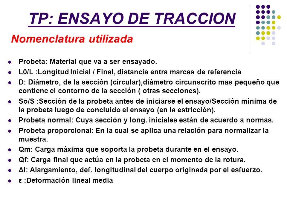 TP: ENSAYO DE TRACCION Nomenclatura utilizada