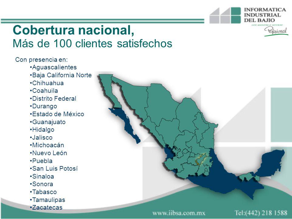 Cobertura nacional, Más de 100 clientes satisfechos