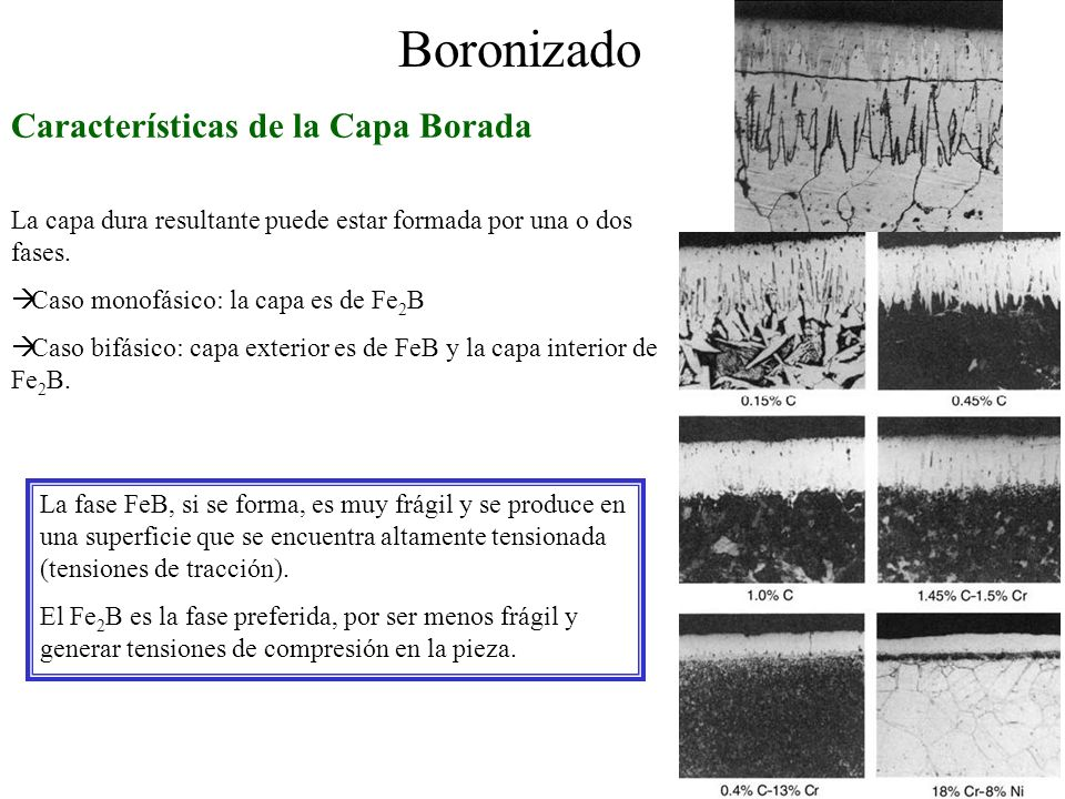 Boronizado Características de la Capa Borada