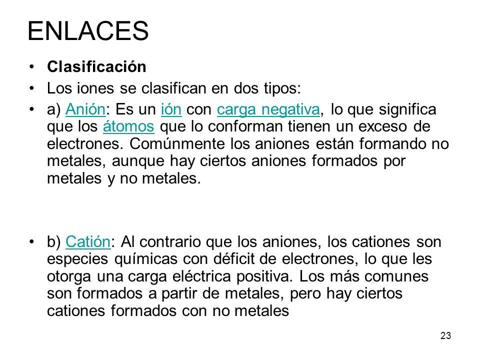 ENLACES Clasificación Los iones se clasifican en dos tipos: