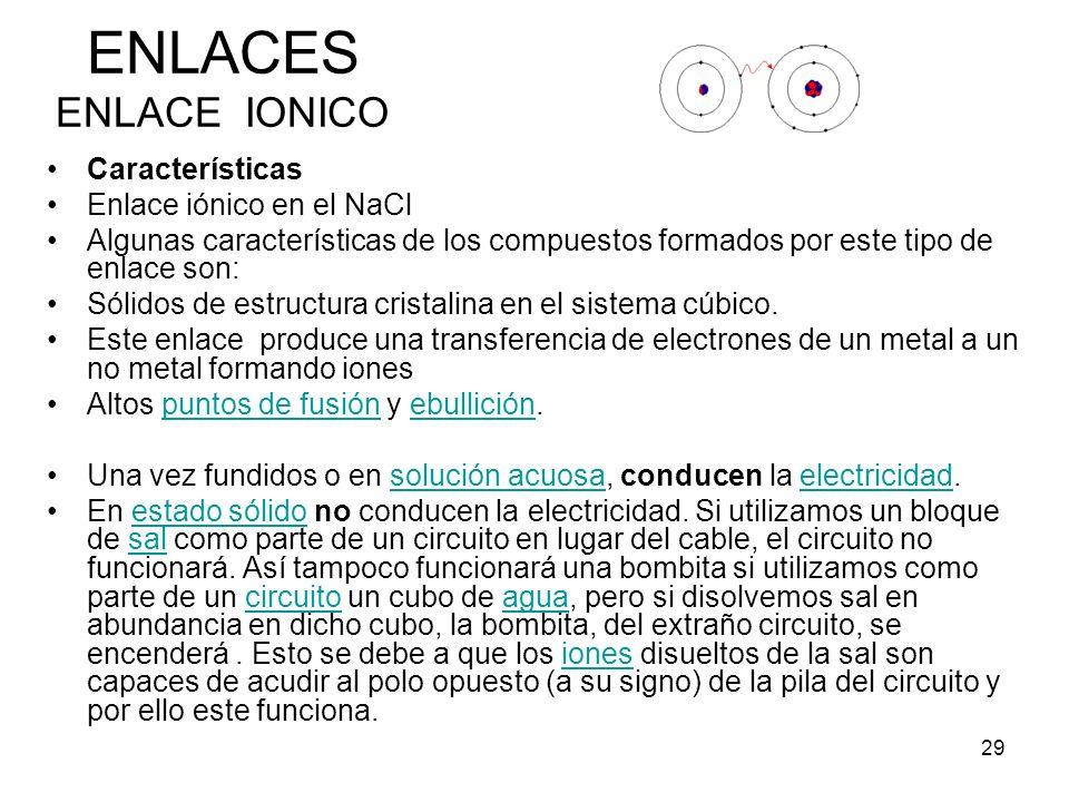 ENLACES ENLACE IONICO Características Enlace iónico en el NaCl