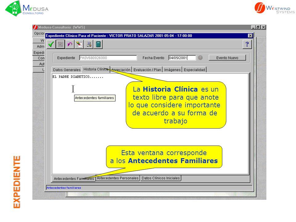 EXPEDIENTE La Historia Clínica es un texto libre para que anote