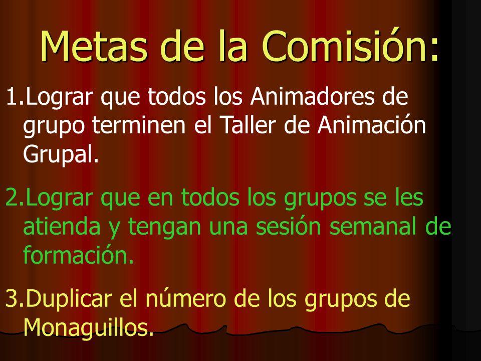 Metas de la Comisión: Lograr que todos los Animadores de grupo terminen el Taller de Animación Grupal.