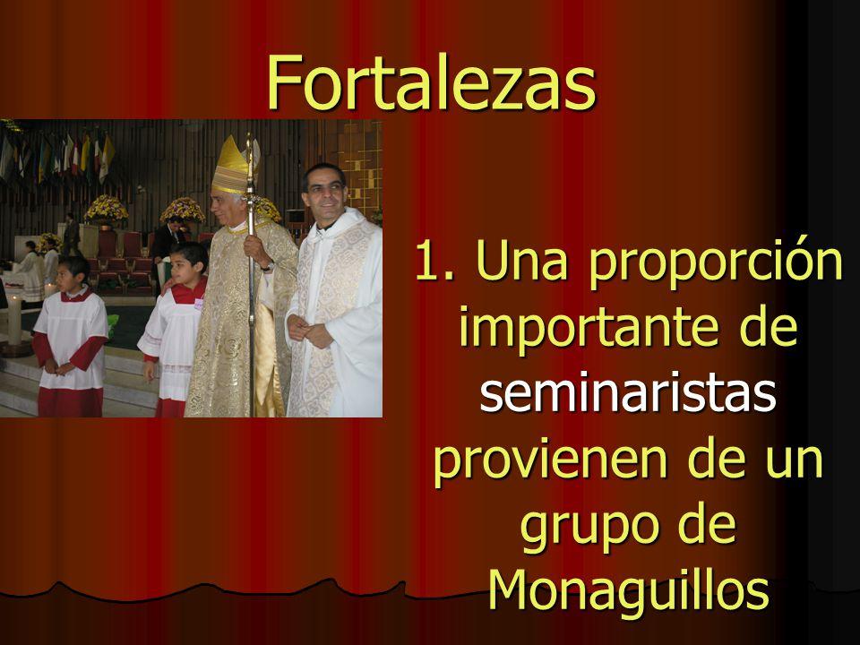 Fortalezas 1. Una proporción importante de seminaristas provienen de un grupo de Monaguillos