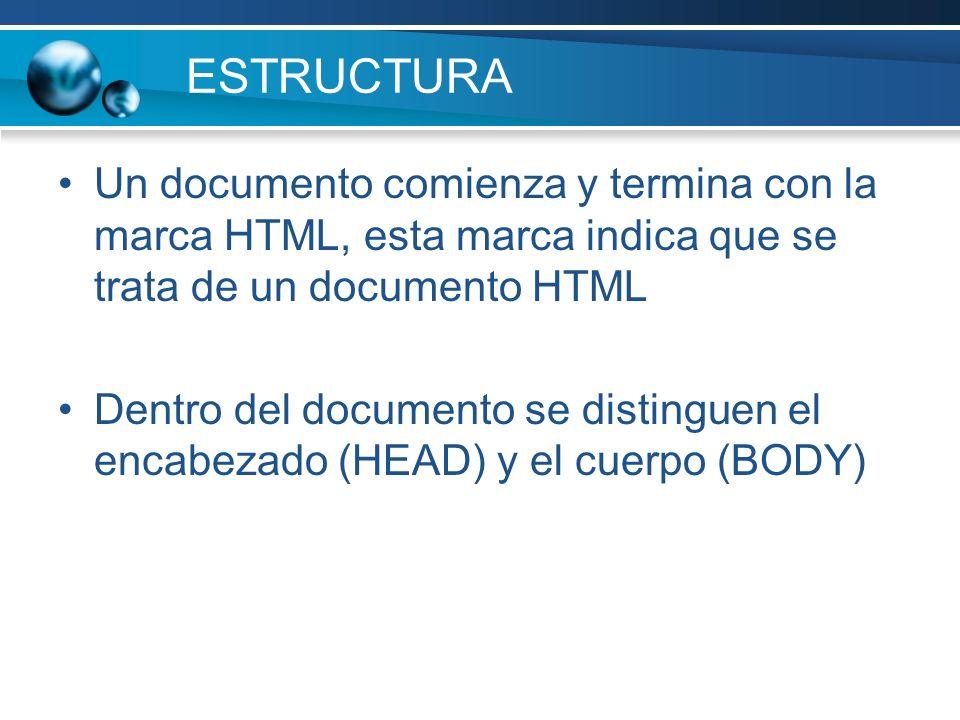 ESTRUCTURA Un documento comienza y termina con la marca HTML, esta marca indica que se trata de un documento HTML.