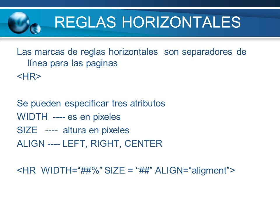 REGLAS HORIZONTALES