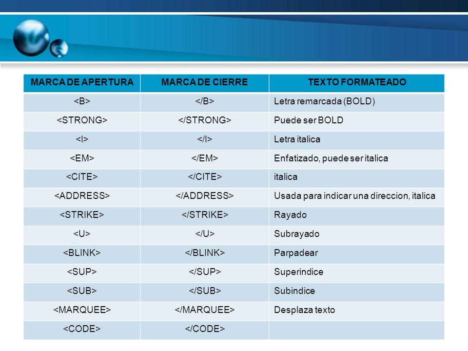 MARCA DE APERTURA MARCA DE CIERRE. TEXTO FORMATEADO. <B> </B> Letra remarcada (BOLD) <STRONG> </STRONG>