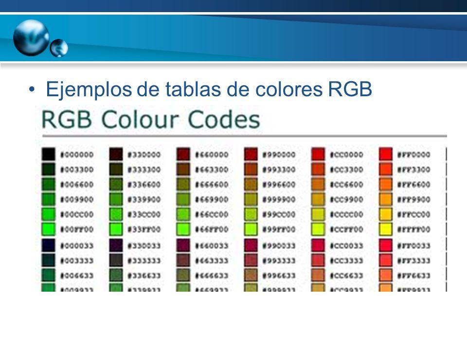 Ejemplos de tablas de colores RGB