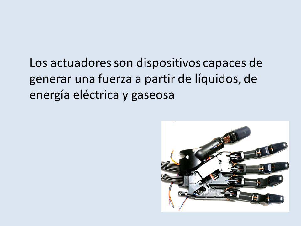Los actuadores son dispositivos capaces de generar una fuerza a partir de líquidos, de energía eléctrica y gaseosa