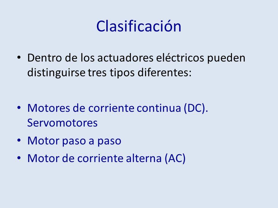 Clasificación Dentro de los actuadores eléctricos pueden distinguirse tres tipos diferentes: Motores de corriente continua (DC). Servomotores.