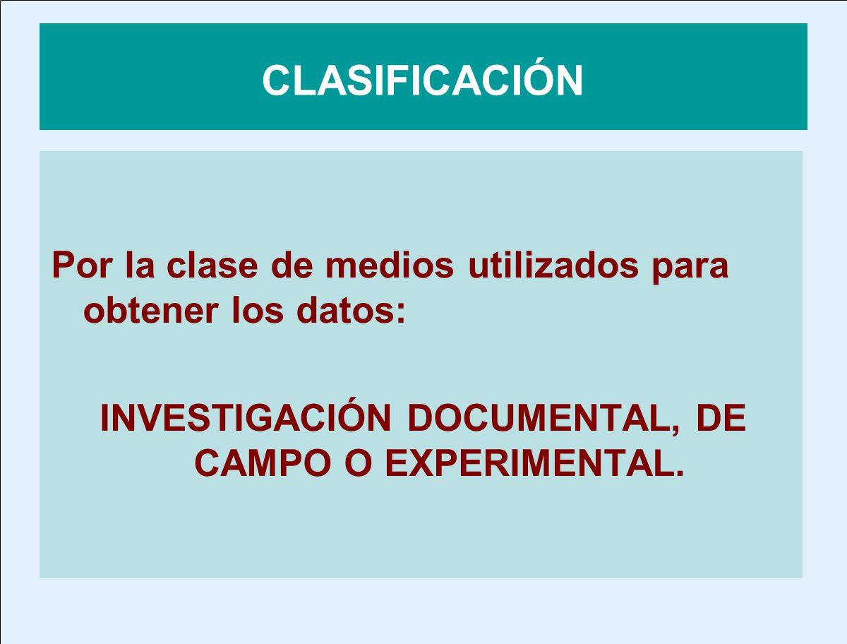 INVESTIGACIÓN DOCUMENTAL, DE CAMPO O EXPERIMENTAL.