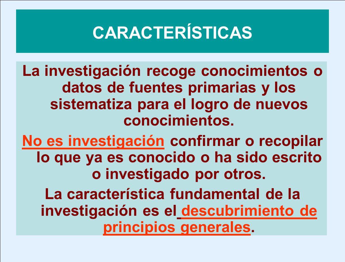 CARACTERÍSTICAS La investigación recoge conocimientos o datos de fuentes primarias y los sistematiza para el logro de nuevos conocimientos.