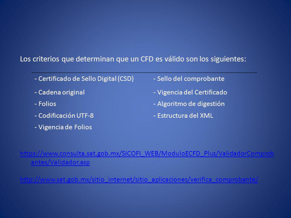 Los criterios que determinan que un CFD es válido son los siguientes: