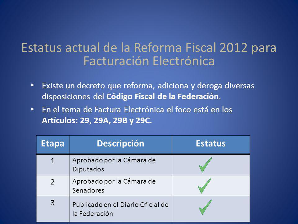 Estatus actual de la Reforma Fiscal 2012 para Facturación Electrónica