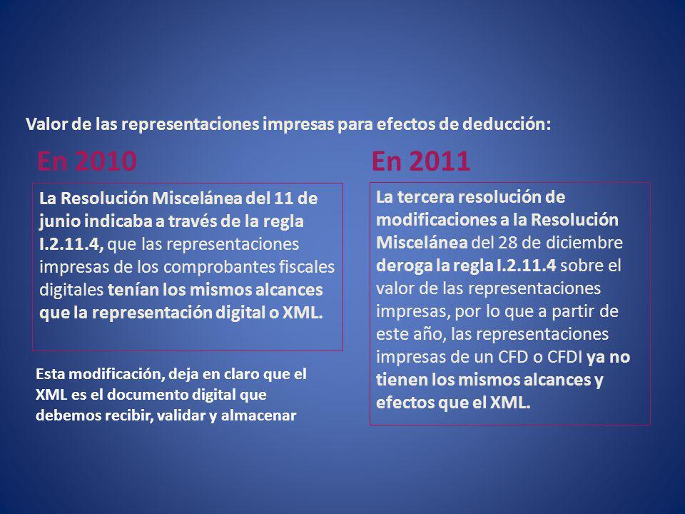Valor de las representaciones impresas para efectos de deducción: