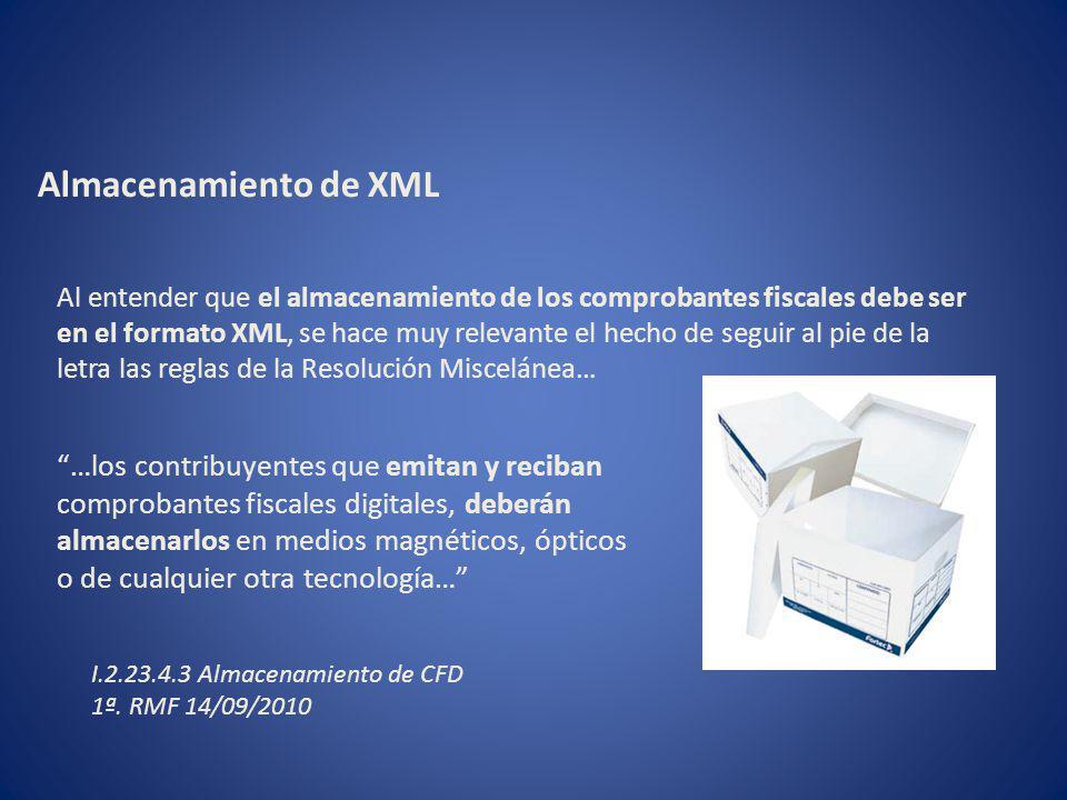 Almacenamiento de XML