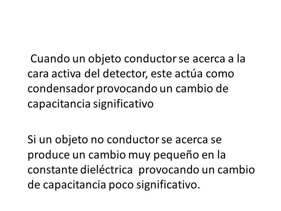 Cuando un objeto conductor se acerca a la cara activa del detector, este actúa como condensador provocando un cambio de capacitancia significativo Si un objeto no conductor se acerca se produce un cambio muy pequeño en la constante dieléctrica provocando un cambio de capacitancia poco significativo.