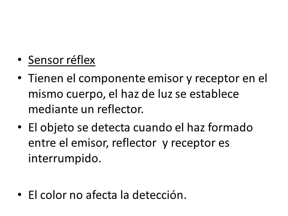 Sensor réflexTienen el componente emisor y receptor en el mismo cuerpo, el haz de luz se establece mediante un reflector.