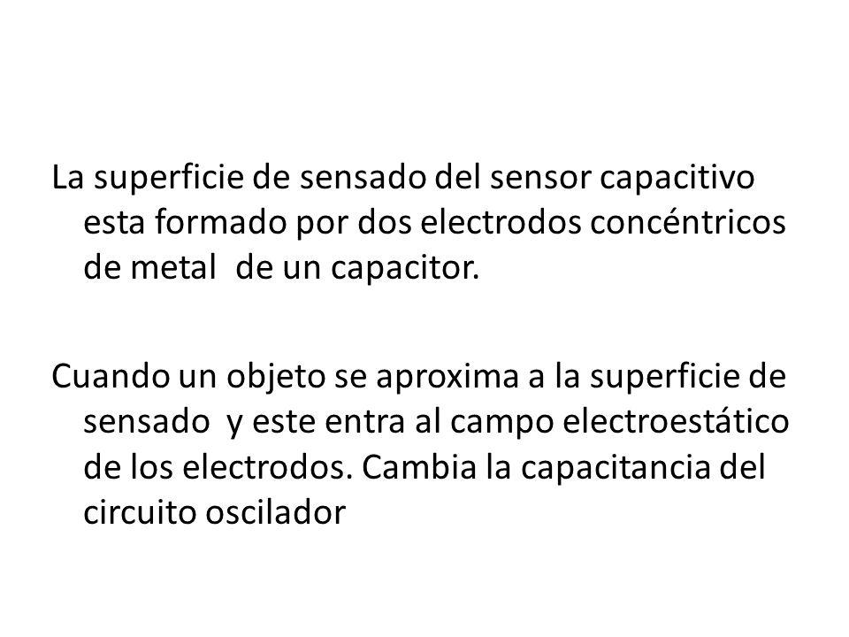 La superficie de sensado del sensor capacitivo esta formado por dos electrodos concéntricos de metal de un capacitor.