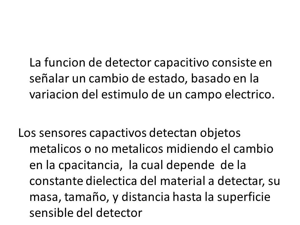 La funcion de detector capacitivo consiste en señalar un cambio de estado, basado en la variacion del estimulo de un campo electrico.