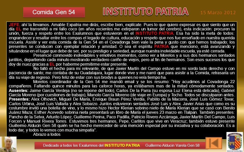INSTITUTO PATRIA Comida Gen 54 15 Marzo 2012