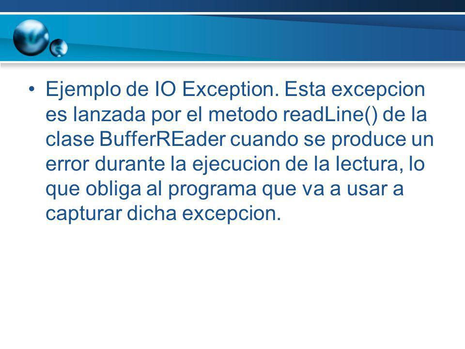Ejemplo de IO Exception