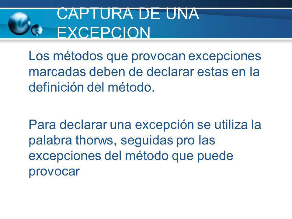 CAPTURA DE UNA EXCEPCION