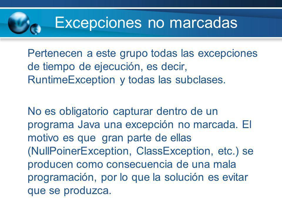 Excepciones no marcadas