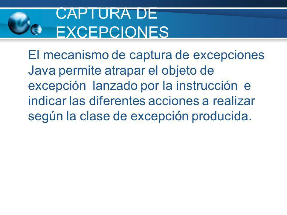 CAPTURA DE EXCEPCIONES