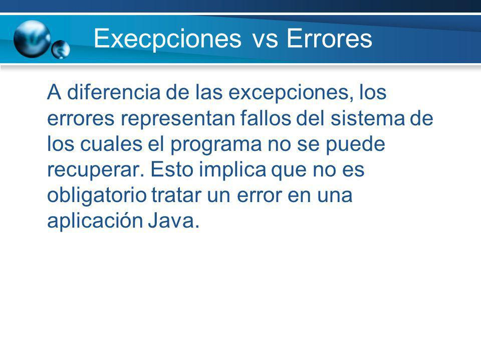 Execpciones vs Errores
